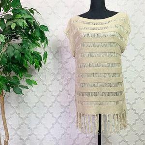 Cache Beige Boho Fringe Crochet Tunic Top